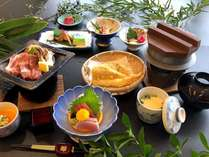 夏【げんぶ館(旧館)DE会席】「蔵王和豚の陶板焼き」と「スズキの焼き物」のお気軽会席