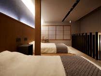 ・【2階ベッドルーム】 天然の国産素材にこだわった石田屋の布団を用意