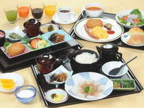 ホテル自慢の新朝食♪和・洋・鯛茶からお選びください。充実のドリンクバーあります。