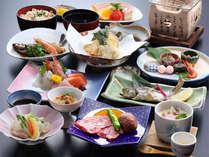 【夕食一例】グレードアップ!主に地元食材を使用した地産地消の会席コース。