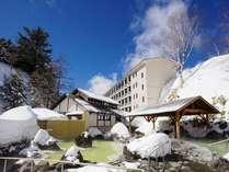 <石庭露天風呂>四つの源泉から温泉を引いているため異なる色や泉質を楽しめます。