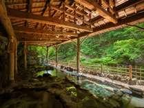 開湯当時の面影を残す天然岩風呂(混浴)女性専用時間あり。(19:30~21:00、5:30~7:00)