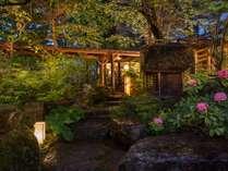玄関横の日本庭園と薬師堂