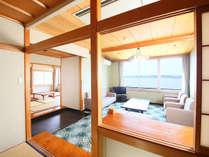 和洋室 広々としたお部屋、家族皆でお寛ぎ下さい。