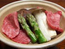 ご夕食例【豊後牛】:地物野菜・新鮮魚介類など美味しい海の幸♪