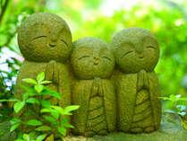 新緑に染まる良縁地蔵様(長谷寺)