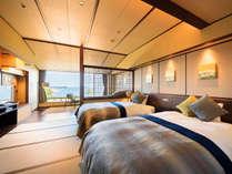 【2016年・新客室】上層階から海を眺める絶景のお部屋。眺望和風ツインイメージ。