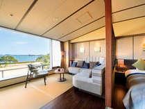 庭園と松島の島々を眺める「眺望和ツイン洗心」
