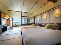 全室オーシャンビューのツインルーム。7000坪の水上庭園と松島の島々を望む。