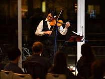 夕食後はヴァイオリンやピアノなどプロの生演奏コンサート。