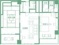 【特別室 ローズスイート(和室10畳+リビング+ツイン 117平米)】間取り図