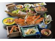活カニフルコース(一例)湯で蟹は食べやすく切ってあります。