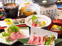 近江牛陶板焼き&金目鯛だし鍋がメインの秋の会席(秋のお料理イメージ)
