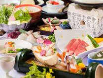 近江牛陶板焼きがメインの会席(春のお料理イメージ)