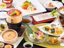 近江牛せいろ蒸しがメインの会席(夏のお料理イメージ)