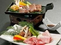 蒜山ジャージー牛と国産牛の陶板焼き!2名盛イメージ