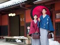 【冬期限定】山代温泉の湯めぐりに便利な加賀友禅の外套を無料貸し出し◎