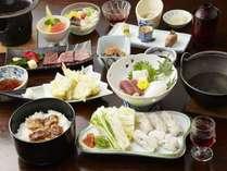 夏の御崎会席 ハモしゃぶ鍋に蒲焼丼と牛ステーキ