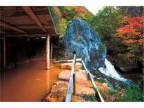 巨石大露天風呂。鉄分が多いため、酸素に触れると源泉は黄金色になります。に