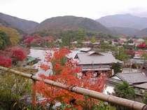 ☆川辺の館・碧川閣客室から望む嵐峡、秋の紅葉の頃。