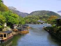 ☆弊亭近くの渡月小橋から見る新緑と小倉山と大堰川