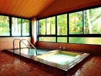 ■まるで森林浴をしているようお風呂(男湯)。入浴時間は15:00~22:00となっています。