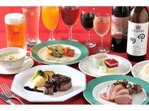 ファーストクラスプランのコース料理一例。ロッシーニはかならずお召し上がり頂けます。