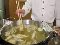 夕食 オープンキッチン実演料理 天ぷら