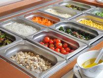 朝食ヴュッフェ料理の一例サラダコーナー