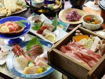 ◆【ご夕食一例】越後もち豚の地酒蒸しと新鮮な海鮮料理