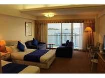 【スタンダードツインルーム】40平米ある広々空間♪お部屋からも瀬戸内海が一望できます。
