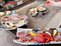 【囲炉裏】稚内で獲れた魚介類を囲炉裏で焼きながらお召し上がりいただけます※メニューは一例です
