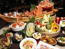 ずわい蟹食べ放題。他にも鮭やホタテなどの新鮮な海鮮がたくさん
