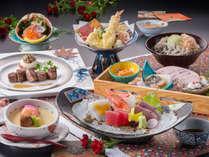【秋冬の基本会席】かに甲羅盛り、刺身盛り合わせ、天婦羅、サイコロステーキを レストラン「季の蔵」にて