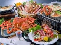 ゆでカニの夫婦盛り・甲羅味噌焼き・蟹刺し・焼き蟹・カニグラタン・かにすき鍋&カニ雑炊と蟹満足コース♪