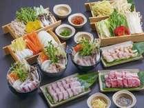 【夕食一例】県産豚の京味噌鍋・メカジキ・白湯鍋