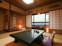 海沿いの部屋から見える夕映えはとても美しく幻想的【標準和室】