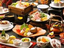 【秋のうまかもん会席】スタッフの想いがつまった夕食。季節ごとに変わる地元の食材にこだわったお料理。