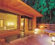 森に囲まれた森林浴露天風呂「森の湯」。夜はライトアップされた木々が露天風呂を見下ろす。