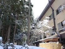 中庭から見た冬の外観