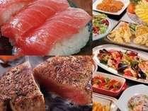 【食べ放題】ステーキ&まぐろ握り&地産料理が食べ放題!サマーナイトバイキングプラン 夕・朝食付