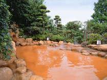 【一の湯・露天風呂(昼)】庭園を通して望む山々の雄大さと彩りはまさに絶景!