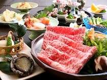 但馬美食めぐり例☆但馬牛しゃぶ大鍋、活あわび踊り焼、鮮魚5種盛り、春前菜など色々