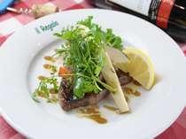 高原野菜と国産牛ステーキ