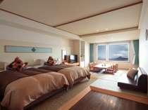 【和洋室(F-2)】~ベッドが入り口側にあり広々とした空間でお寛ぎいただけます~