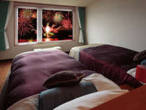 【和洋室(F-1)】~洞爺湖ロングラン花火大会の花火も綺麗にご覧いただけます~
