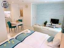 ツインルームソファ付:お部屋は40㎡、キッチン完備、特注の広々ベッドでゆっくりお休み下さい♪