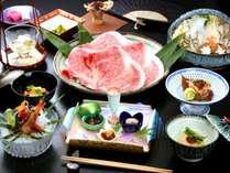 【米沢牛とともに味わう季節の特別会席】料理長厳選の食材と料理。メインには米沢牛のしゃぶしゃぶを。
