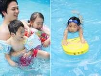 年中使える屋内温水プールは、家族みんなで楽しめる。貸浮輪やビート板、遊具等も準備万端で利用無料。