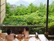 緑豊かな自家泉源を持つ露天風呂。有馬特有の赤褐色のにごり湯「金泉」には、神経痛など20種の効能が。